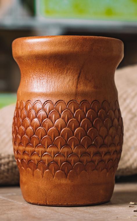 Matero - Palo Santo okute obszyte w skórze | brązowe - wielkie
