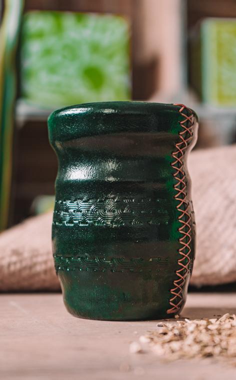 Matero - Palo Santo okute obszyte w skórę | zielone - duże