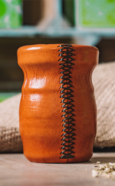 Matero - Palo Santo |  okute + obszyte w skórze | orange 2  - duże