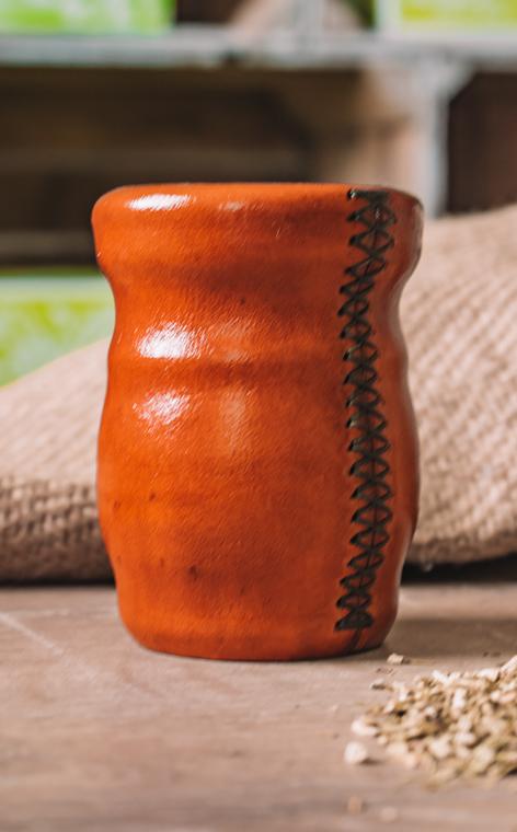 Matero - Palo Santo |  okute + obszyte w skórze | orange - duże