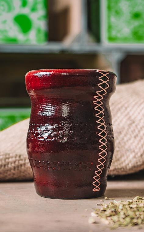 Matero - Palo Santo | okute + obszyte w skórze | red - duże