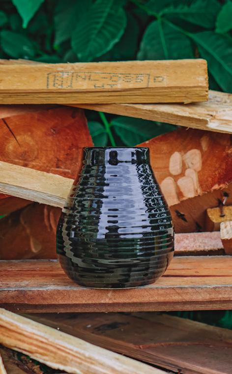 Tykwa - Ceramiczna miodowo czarna   tykwa do yerby   330 ml