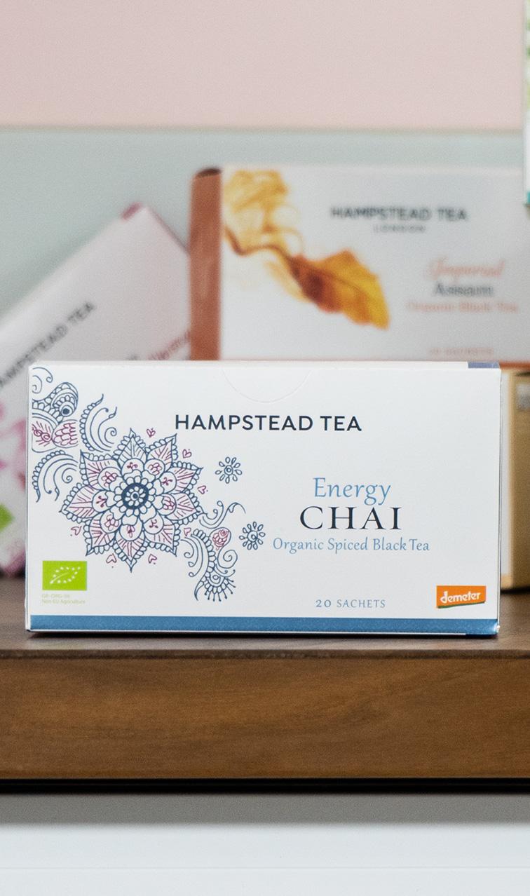 Hampstead Tea - Energy Chai   czarna herbata bio   20 saszetek