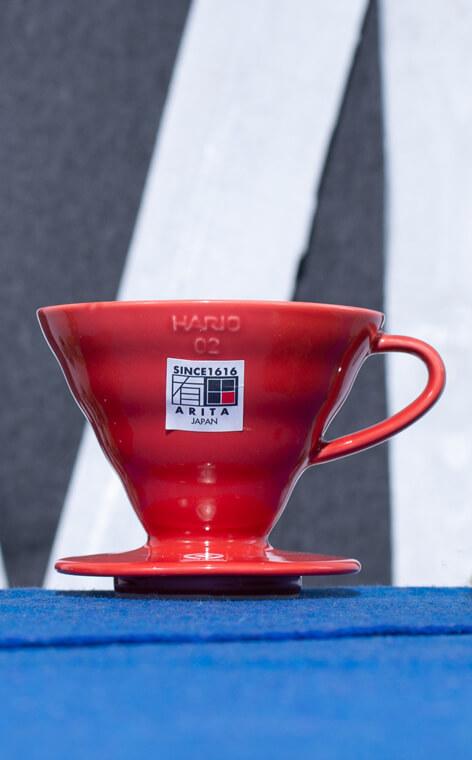 Hario - ceramiczny Drip V60-02 | drip do kawy | Czerwony