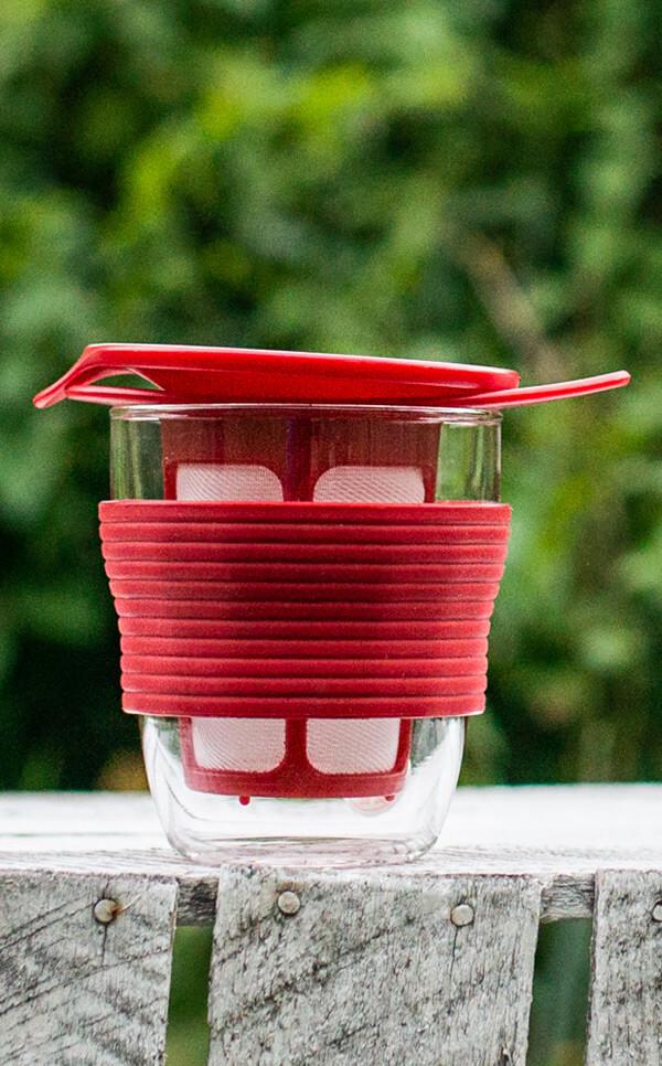 Hario - Handy Tea Maker | kubek z zaparzaczem do herbaty | czerwony - 200ml