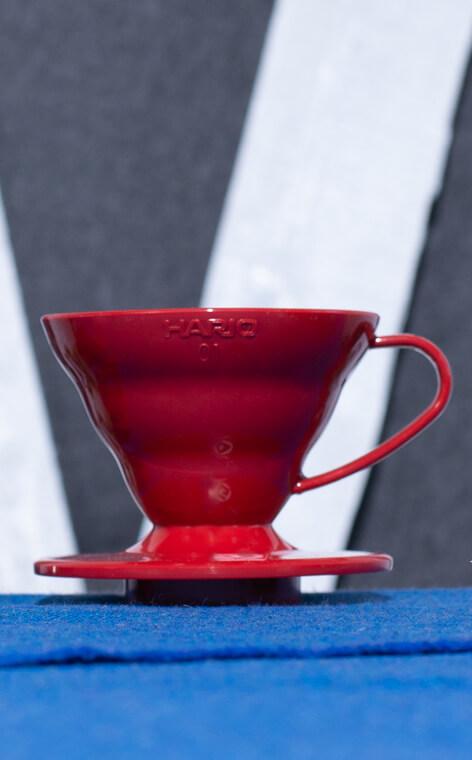 Hario - plastikowy Drip V60-01 | drip do kawy | Czerwony