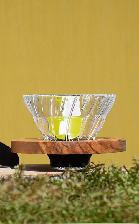Hario - szklany Drip V60-01 | drip do kawy | Olive Wood