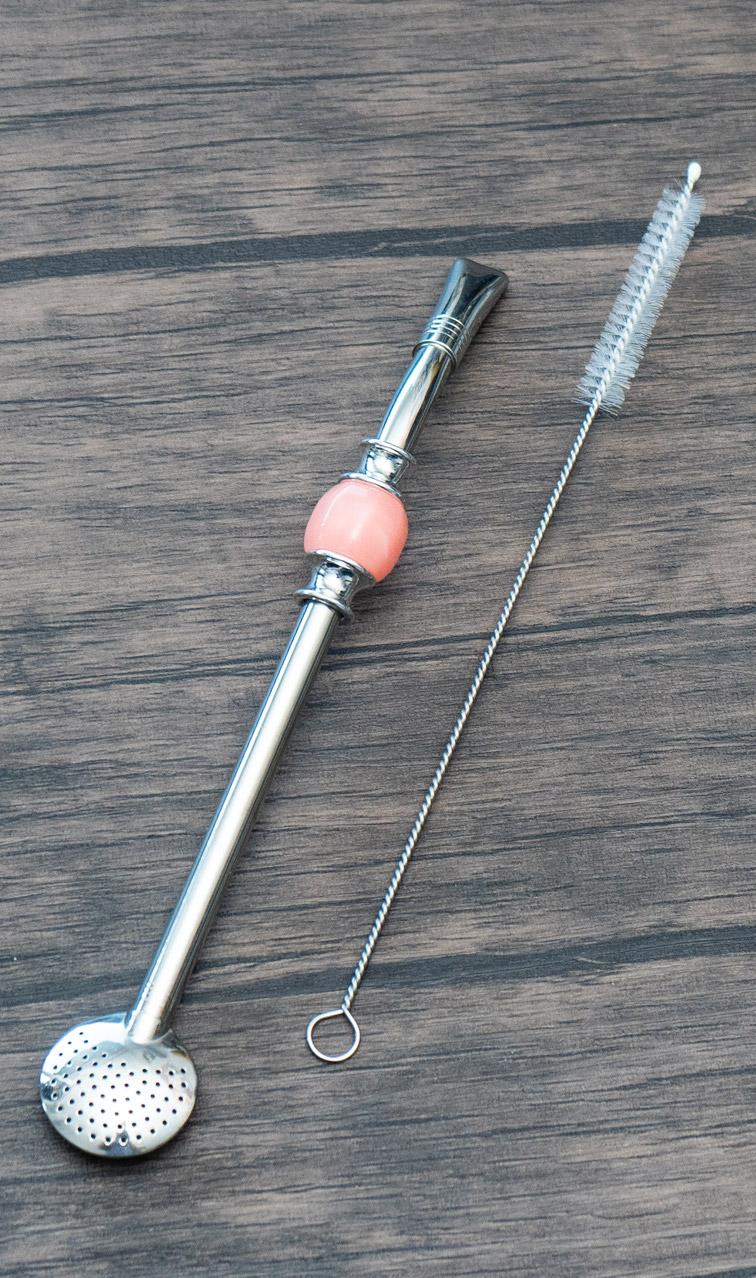 Bombilla - Bomba z kamieniem | różowa+ czyścik | bombilla do yerba mate
