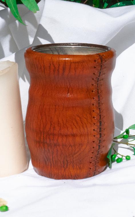 Matero - Palo Santo   okute + obszyte w skórze   brown 2 - duże