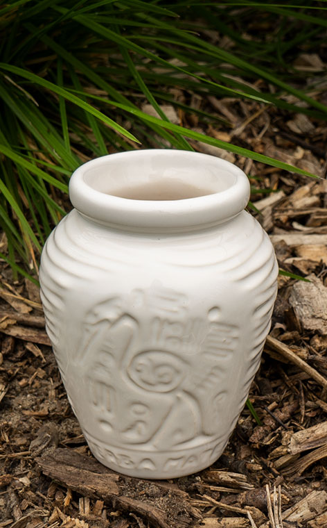 Tykwa - Ceramiczna Aztek biała | naczynie do yerby | 300ml