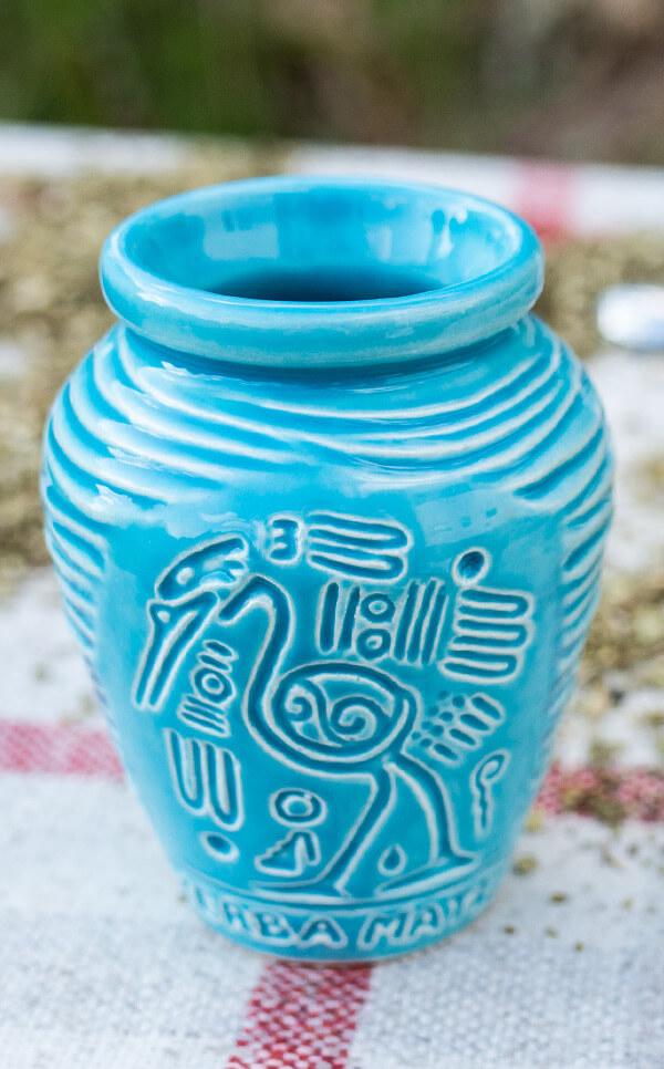 Tykwa - Ceramiczna Aztek błękitna | naczynie do yerby | 300 ml