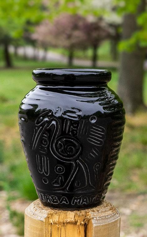 Tykwa - Ceramiczna Aztek czarna | naczynie do yerby | 300ml