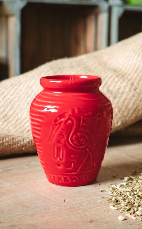 Tykwa - Ceramiczna Aztek czerwona   naczynie do yerby   260 ml