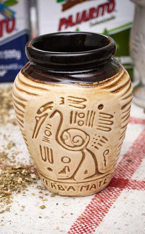 Tykwa - Ceramiczna Aztek miodowa | naczynie do yerby | 260 ml