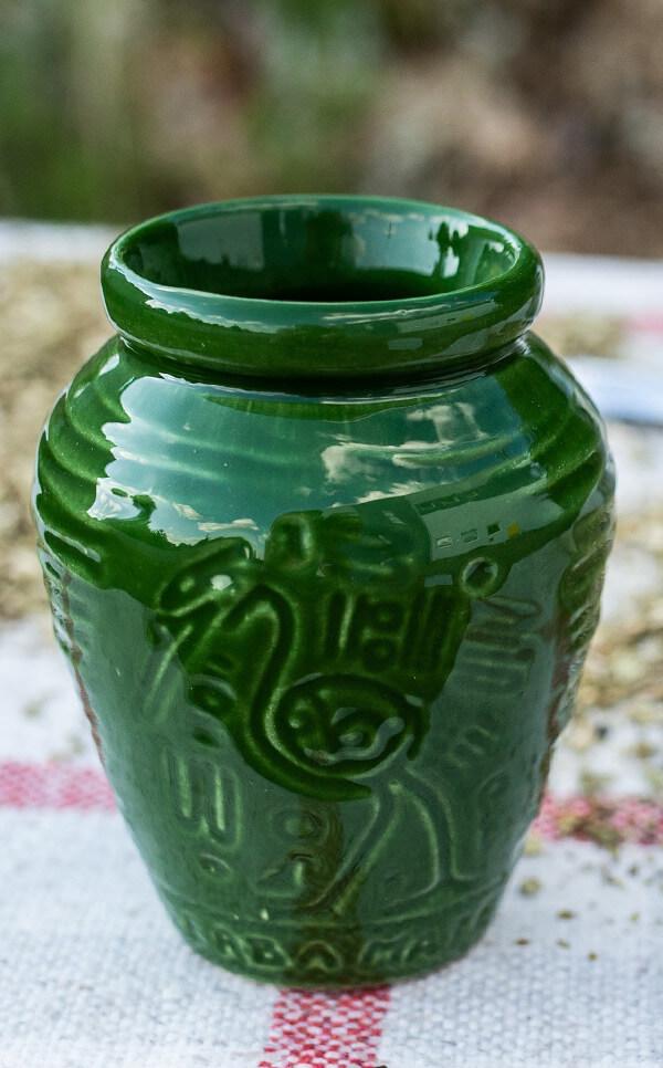 Tykwa - Ceramiczna Aztek zielona | naczynie do mate | 300 ml