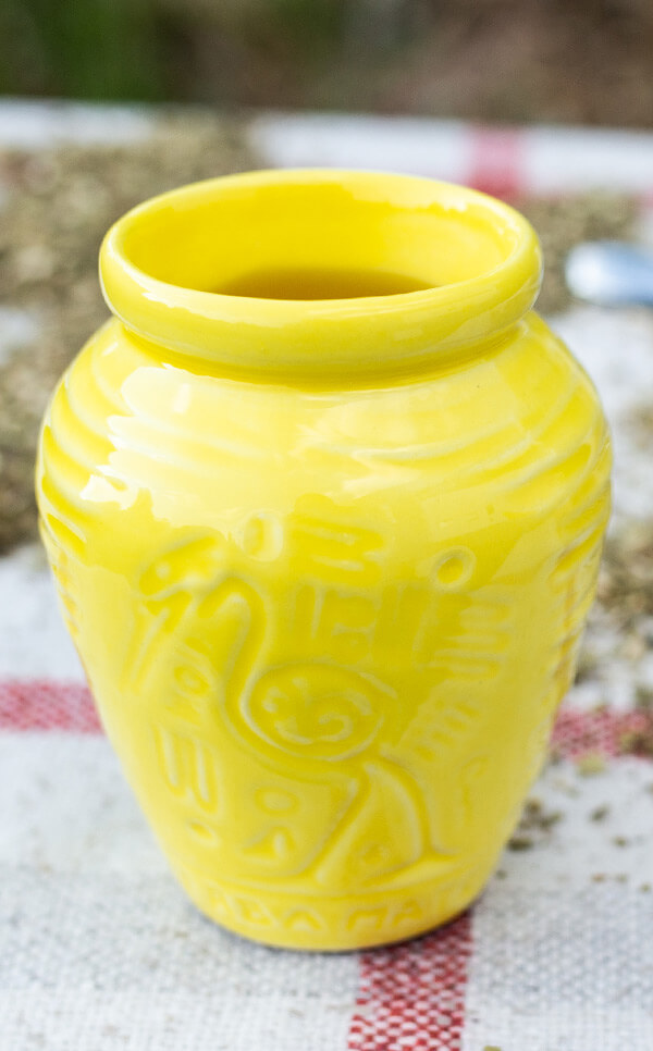 Tykwa - Ceramiczna Aztek żółta | matero gliniane | 300 ml