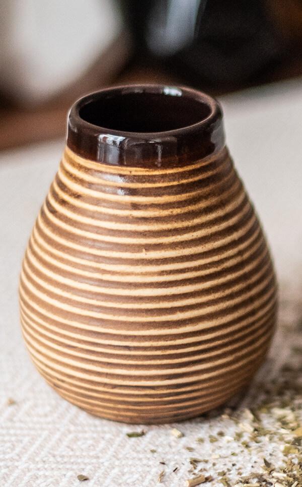 Tykwa Ceramiczna - miodowa | naczynie do yerba mate | 350 ml