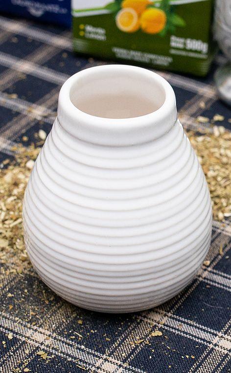 Tykwa - Ceramiczna miodowo biała | tykwa do yerba mate | 330 ml