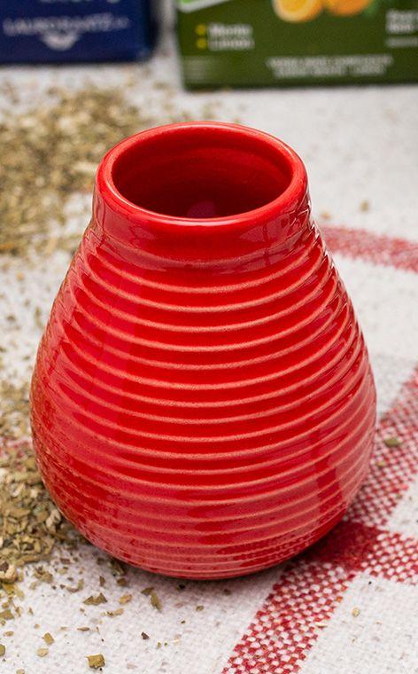 Tykwa - Ceramiczna miodowo czerwona | tykwa do yerby | 250 ml