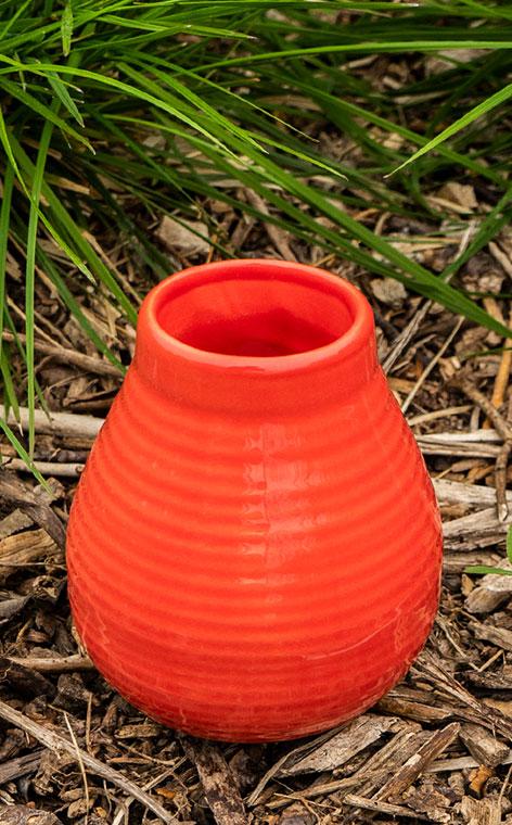 Tykwa - Ceramiczna miodowo-czerwona | naczynie do yerby | 350 ml