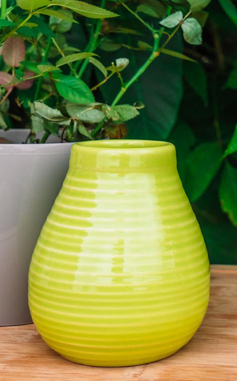 Tykwa - Ceramiczna miodowo groszkowa   naczynie do yerby   330 ml