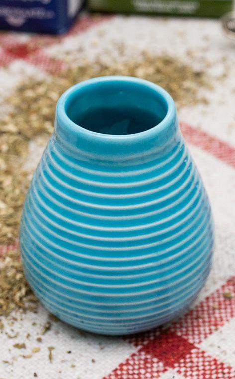 Tykwa - Ceramiczna miodowo niebieska | tykwa do yerba mate | 250 ml