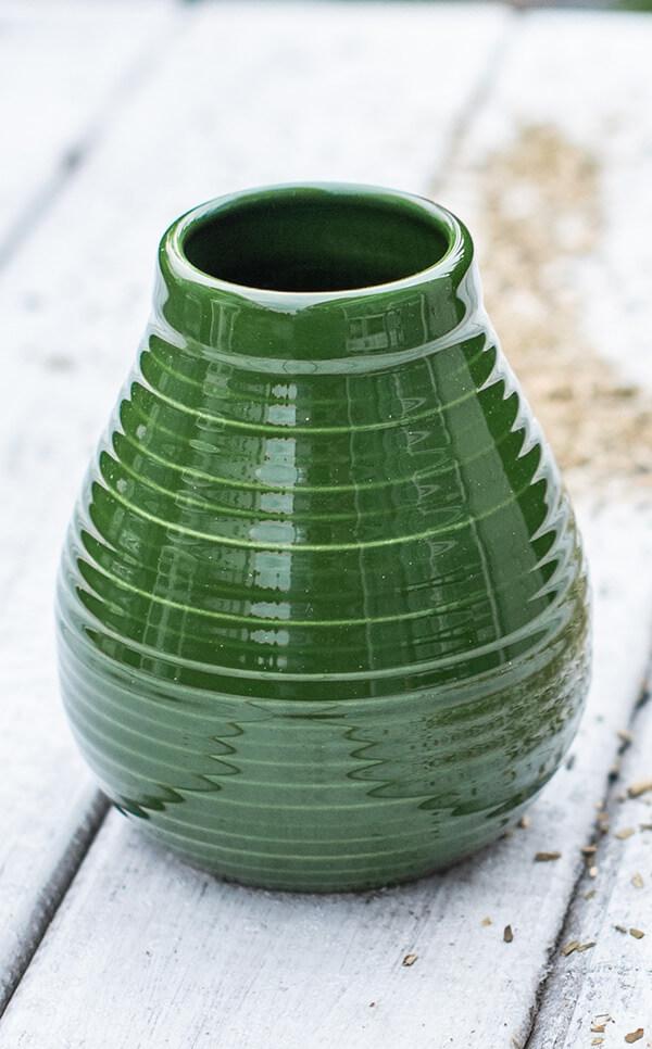 Tykwa Ceramiczna - miodowo zielona | naczynie do yerba mate | 350 ml
