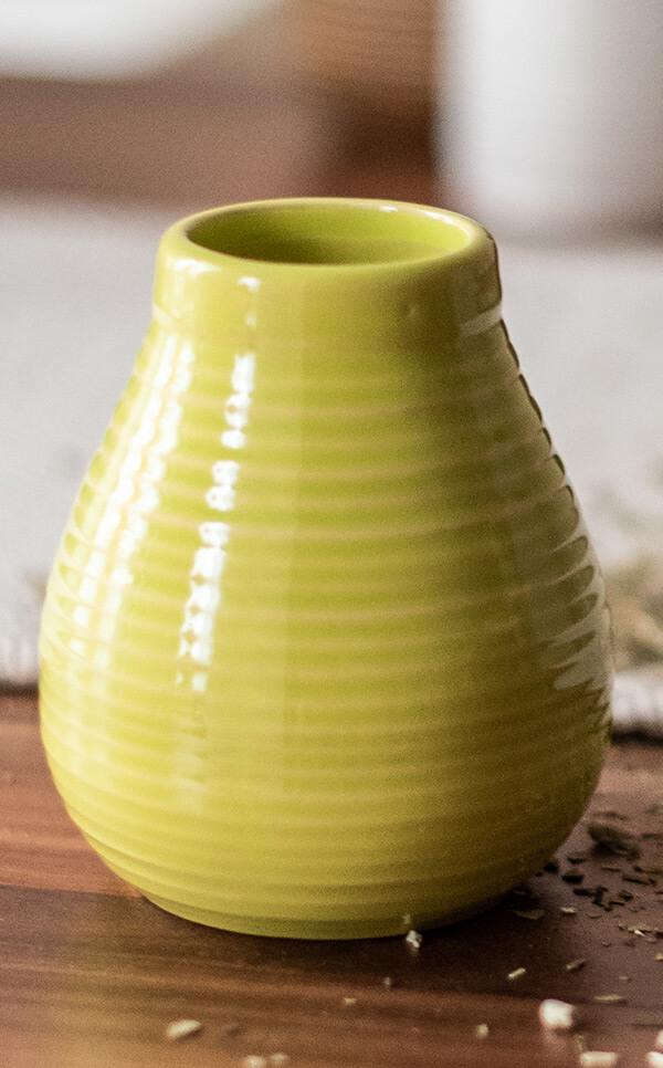 Tykwa Ceramiczna - miodowo żółta | naczynie do yerba mate | 350 ml