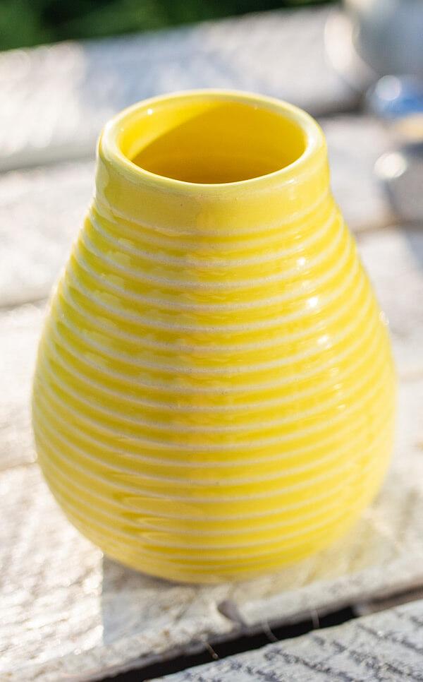 Tykwa - Ceramiczna miodowo żółta | naczynie do yerby | 250 ml