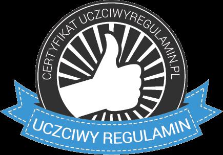 Jesteśmy sklepem posiadającym certyfikat: Uczciwy regulamin - specjaliści z dziedziny ecommerce, ochrony danych osobowych oraz prawa konsumenckiego.